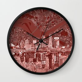 louisville city skyline red Wall Clock