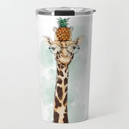 Intelectual Giraffe with a pineapple on head Travel Mug