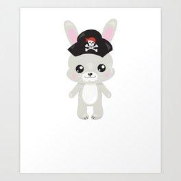 Animal Pirates Animal Pirate Bunny Pirate Themed Birthday Art Print