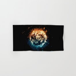 Burning Circle - Fire and Ice - Isolated Hand & Bath Towel