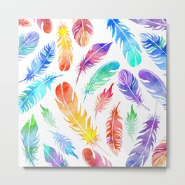 NEON RAINBOW TROPICAL FEATHERS Metal Print