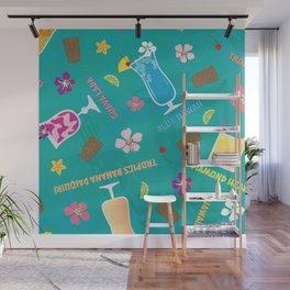 Hilton Hawaiian Village Tropical Mixed Drinks Toss Wall Mural
