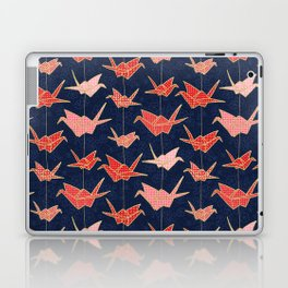 Red origami cranes on navy blue Laptop & iPad Skin
