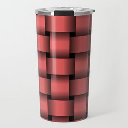 Large Light Red Weave Travel Mug