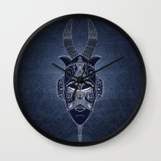 Horned Tribal Mask (color version) Wall Clock