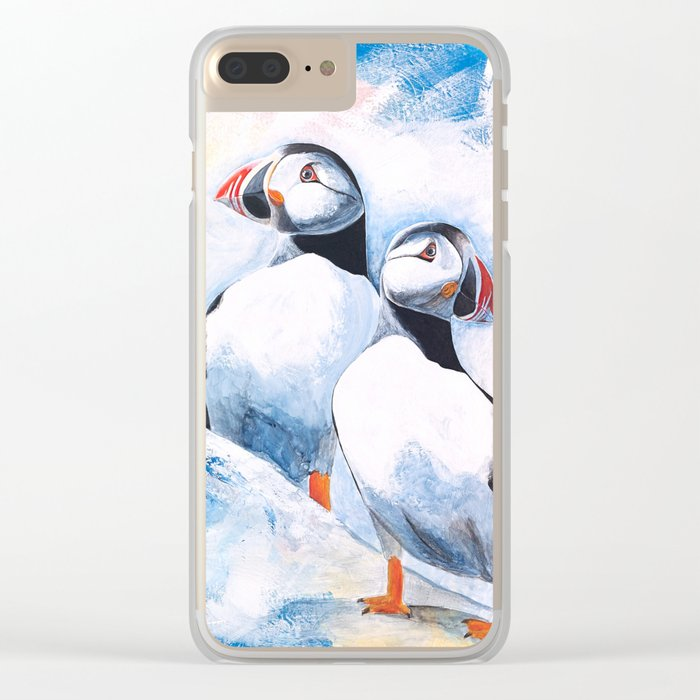 Puffins - I watch over you, little brother - by LiliFlore Clear iPhone Case