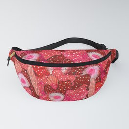 Cacti Camouflage, Blooming Succulents Floral Pattern, Strawberry Crimson Fanny Pack