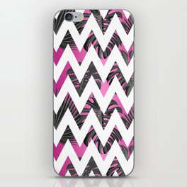 Abstract pink gray white chevron tropical monster leaves iPhone Skin