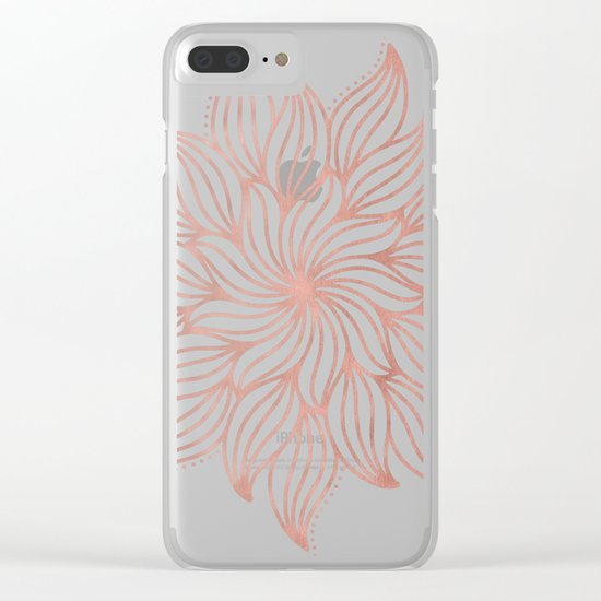 Mandala Floral Rose Gold on White Clear iPhone Case