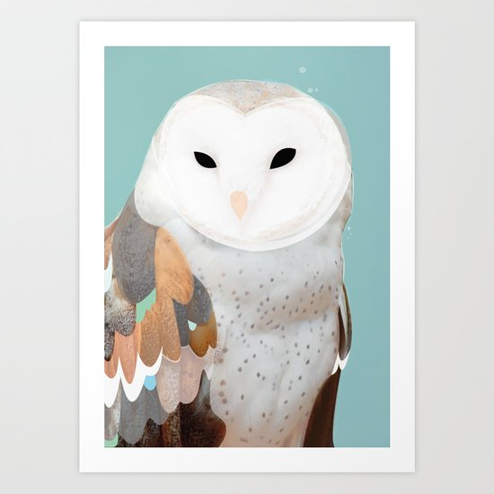 WHITE OWL 3 Art Print