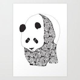 Panda Bear With Roses Tattoo Pattern Art Print
