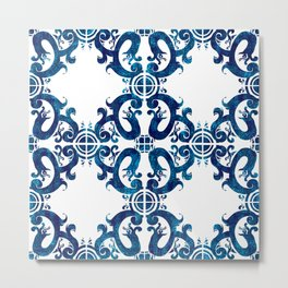 Blue carved tile ceramic effect Metal Print