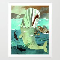 moby Art Prints featuring Moby Dick by Mary Slumber