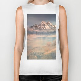 Icy tranquility - Cabin by the pond Biker Tank