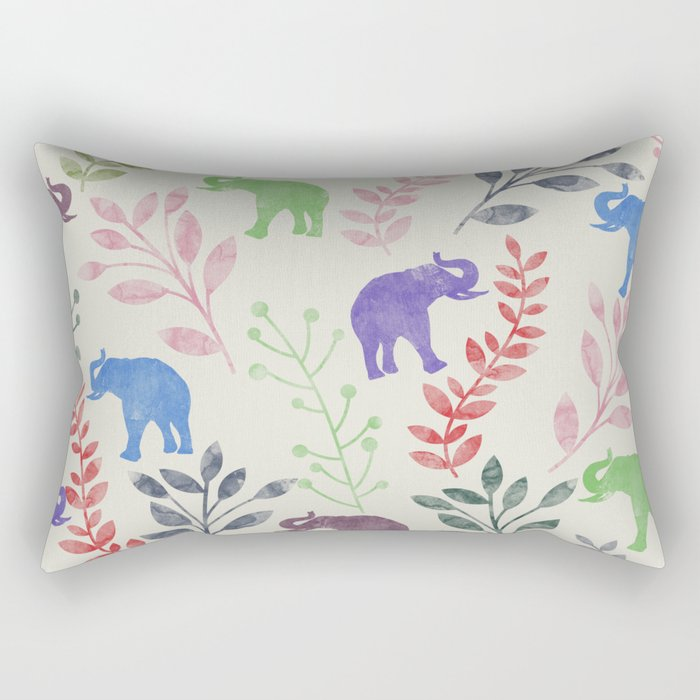 Watercolor Flowers & Elephants Rectangular Pillow