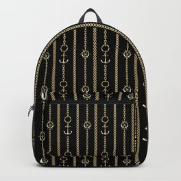 Gold chains on black. Backpack