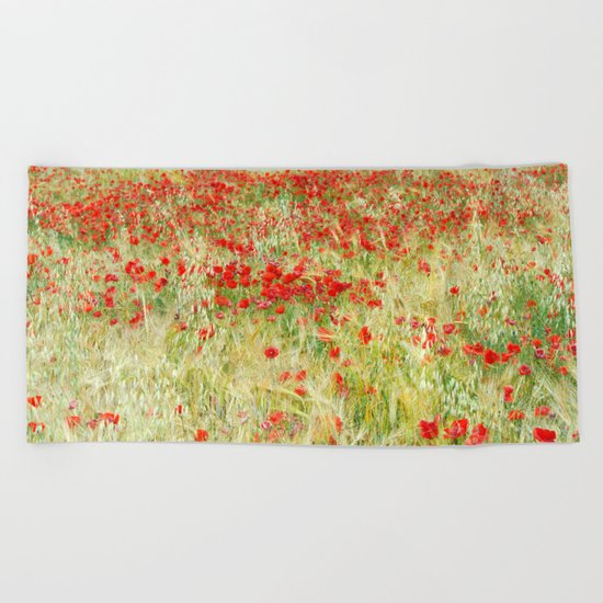 """Abstract poppies"" Beach Towel"
