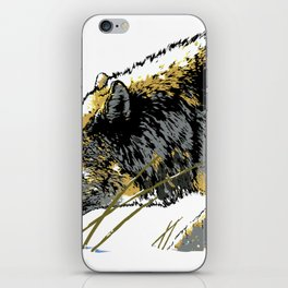 The Timber Wolf walking in the Snow iPhone Skin