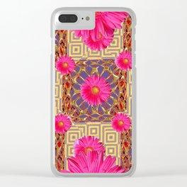 Fuchsia Gerbera Flowers & Grey Patterns Clear iPhone Case