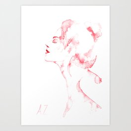 Watercolor red woman illustration Art Print