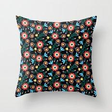Folk Floral (Black) Throw Pillow