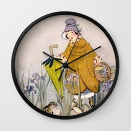 Vintage Rainy Day Frog Wall Clock