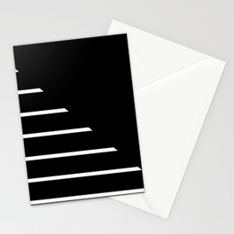 Half Stripes Black and White Stationery Cards