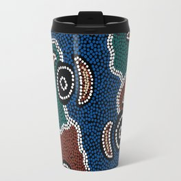 Authentic Aboriginal Art - Riverside Dreaming Travel Mug