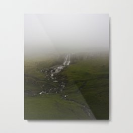 Foggy Mountains and Waterfalls Metal Print