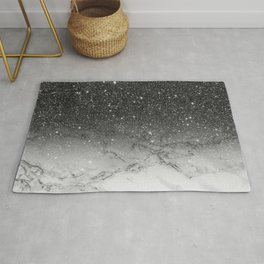 Stylish faux black glitter ombre white marble pattern Rug