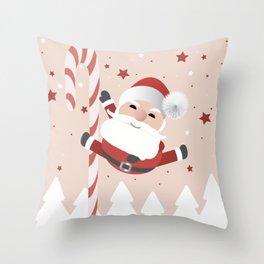 A Happy Pole Dancing Santa Claus Throw Pillow