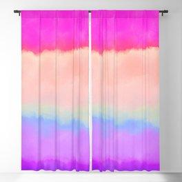 Modern girly pink magenta violet lavender watercolor stripes Blackout Curtain