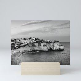 Carvoeiro town and beach in Lagoa, Algarve, Portugal. Black and White. Mini Art Print