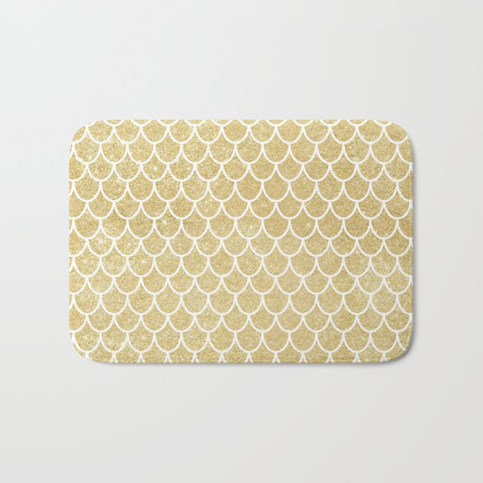 Mermaid Tail Pattern  |  Gold Glitter Bath Mat