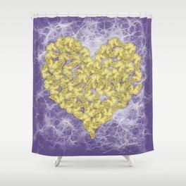 Gold butterflies on ultraviolet fractal texture Shower Curtain