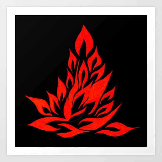 fire meditation pose Art Print