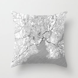 New Haven Map Line Throw Pillow