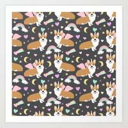 Corgi Unicorn blanket  cute dog corgi Art Print