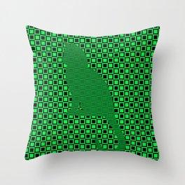PATTERN GREEN/BLACK CAT Throw Pillow