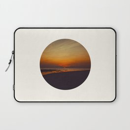 Mid Century Modern Round Circle Photo Graphic Design Orange Sunset Above Beach Laptop Sleeve