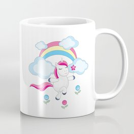 little unicorn and rainbow Coffee Mug