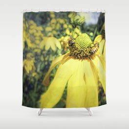 Bees on Yellow Flower Shower Curtain