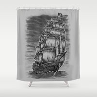 pirate ship Shower Curtains featuring Caleuche Ghost Pirate Ship by Roberto Jaras Lira