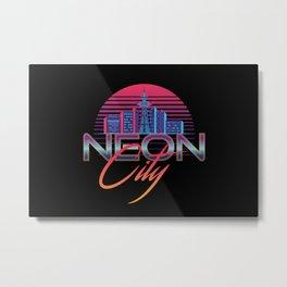 Neon City Retro Wave - 80's Aesthetics Metal Print