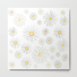 white daisy pattern watercolor Metal Print