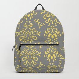 Damask Pattern in Grey and Yellow Backpack