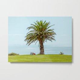 Love, couple, ocean view & palm tree Metal Print