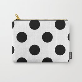 Large Polka Dots - Black on White Carry-All Pouch