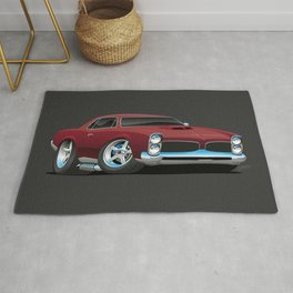 Classic American Muscle Car Cartoon Rug