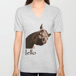 funny horse hello Unisex V-Neck